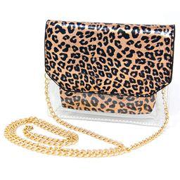 Me Plus Women Fashion 2 Pieces Set Clear PVC Leopard Print Small Cross Body Clutch Pouch Bag   Amazon (US)