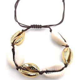 LESLIE BOULES Fashion Bracelet Natural Cowrie Shell Gold Plated Bead Adjustable Size   Amazon (US)