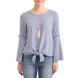 Women's Mini Gingham Tie Front Top with Necklace   Walmart (US)