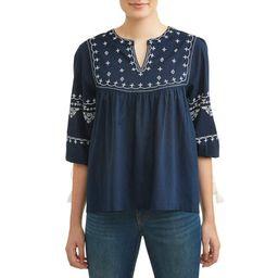 Women's Embroidered Neck Top   Walmart (US)