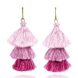 Amazing Layered Triple Stack of Pink Tassels & Brass Dangle Earrings   Walmart (US)