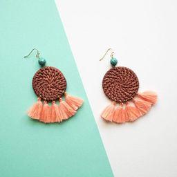 Brown Rattan Circle Coral Tassel Earrings   Panacea