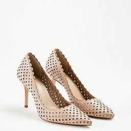 Mila Scalloped Perforated Leather Pumps | Ann Taylor | Ann Taylor (US)
