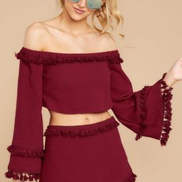 While I'm Around Burgundy Two Piece Set | Red Dress