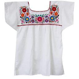 Liliana Cruz Embroidered Mexican Peasant Blouse   Amazon (US)