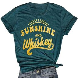 MNLYBABY Sunshine and Whiskey Short Sleeve T-Shirt Women Beach Funny Letters Print Summer Tops Tees | Amazon (US)