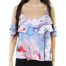 Willow & Clay Floral Print Ruffled Tank Cami Top Blouse Blue XS | Amazon (US)