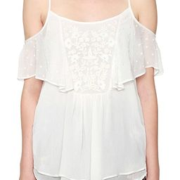 Willow & Clay Embroidered Cold Shoulder Tank Top Blouse Ivory Women's Large L | Amazon (US)