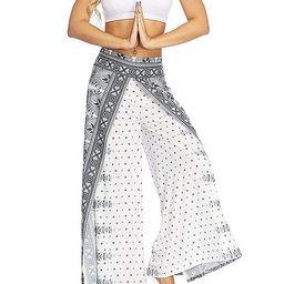 MsAnya Womens Palazzo Slit Wide Leg Pants Summer Casual Beach Boho Hippie Bohemian Pilate Plus Si... | Amazon (US)