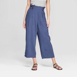 Women's Pleated Cropped Wide Leg Pants - Xhilaration™ Navy | Target