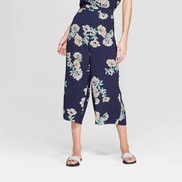 Women's Floral Print Cropped Wide Leg Pants - Xhilaration™ Navy | Target