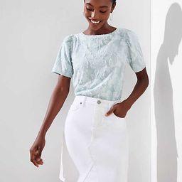 Denim Skirt in White   LOFT   LOFT