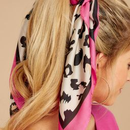 Pounce On It Hot Pink Leopard Print Scarf   Red Dress