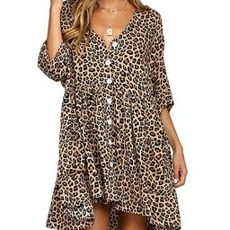 LANISEN Babydoll Dresses for Women,Casual Half Sleeve Button Down Loose Tunic Tops Dress   Amazon (US)