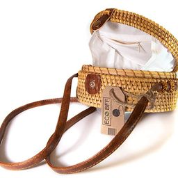 ECO BFF Crossbody Rattan Bag Round Natural Handwoven Bali Shoulder Strap & Snap | Amazon (US)