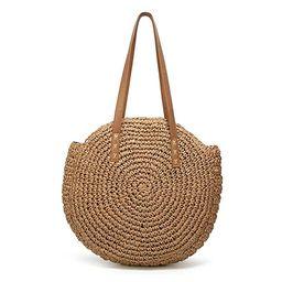Women's Straw Handbags Large Summer Beach Tote Woven Round Pompom Handle Shoulder Bag … | Amazon (US)