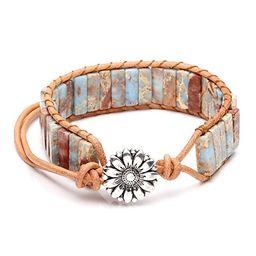 Top Plaza Chakra Imperial Jasper Wrap Adjustable Bracelet Boho Bohemian Yoga Leather Weave Bracel... | Amazon (US)