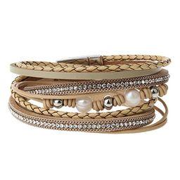 AZORA Leather Wrap Bracelet for Women Multi Rope Cuff Bracelets with Pearl & Rhinestone Handmade ... | Amazon (US)