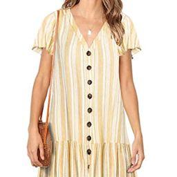 Chuanqi Womens Polka Dot V Neck Button Down Ruffles Casual Loose Swing Short Mini T-Shirt Dress   Amazon (US)