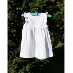 White Linen Baby Dress, Frill Dress Kid, Baby Girl Baptism Dress, Blessing Dress, Christening Dre...   Etsy (US)