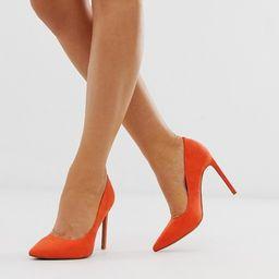 ASOS DESIGN Porto pointed high heeled pumps in tangerine   ASOS US