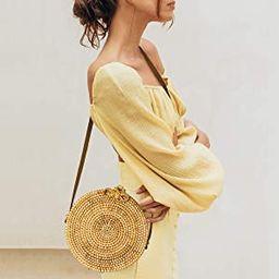 Round Rattan Bag for Women Lefur Handwoven Straw Bag Beach Crossbody Purse with Shoulder Straps L...   Amazon (US)