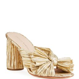 Loeffler Randall Penny Pleated Metallic Slide Sandals   Neiman Marcus
