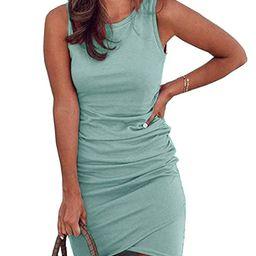 Spring Tshirt Dresses for Women Casual Ruched Irregular Bodycon Short Mini Dress | Amazon (US)