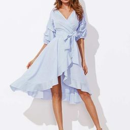 SHEINGathered Sleeve Surplice Wrap Pinstripe Ruffle Dress   SHEIN