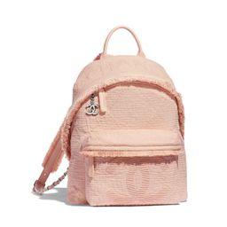 Mixed Fibers, Goatskin, Silver-Tone Metal Light Pink Backpack | CHANEL | Chanel, Inc.