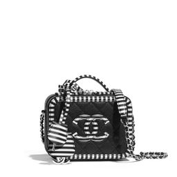 Grained Calfskin & Silver-Tone Metal Black & White Small Vanity Case   CHANEL   Chanel, Inc.