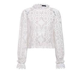 Asskdan Women's Mock Neck Long Sleeve Floral Mesh Lace Sheer Crochet Blouse Top T-Shirt | Amazon (US)