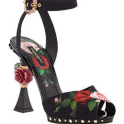Rose-Print High Sandals   Bergdorf Goodman