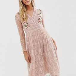 Frock And Frill prairie lace midi dress with embroidered wrap front in soft rose   ASOS US