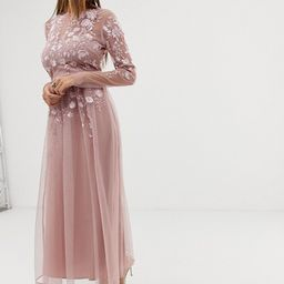 ASOS DESIGN long sleeve embroidered midi dress   ASOS US