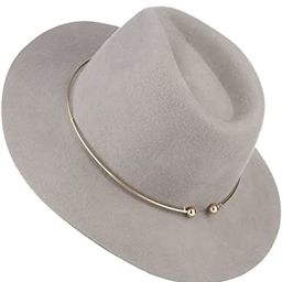 Adult Women Men Floopy Brim Panama Hat Fedora Hats Trilby Caps with Metal Hoop | Amazon (US)