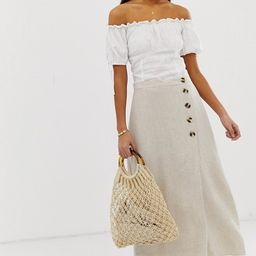 New Look skirt with button detail in stone | ASOS US