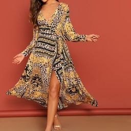 SHEINScarf Print Self Belt Surplice Dress   SHEIN