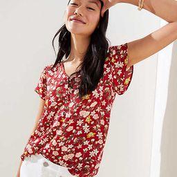 Floral Vine Buttoned Petal Sleeve Top | LOFT
