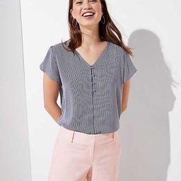 Striped Buttoned Petal Sleeve Top | LOFT