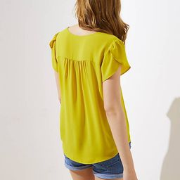 Buttoned Petal Sleeve Top | LOFT