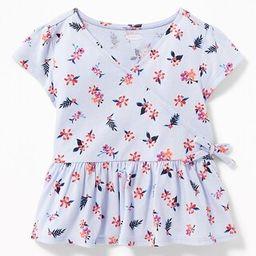 Slub-Knit Faux-Wrap Peplum-Hem Top for Toddler Girls   Old Navy US