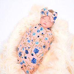 Newborn Receiving Blanket Headband Set Flower Print Baby Swaddle Receiving Blankets   Amazon (US)