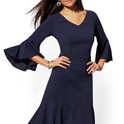 Bell-Sleeve Ruffled Sheath Dress - Magic Crepe - New York & Company   New York & Company