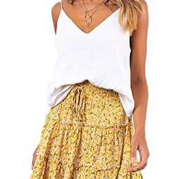 SimpleFun Womens Ruffle Floral Print or Polka Pot Mini Skirts with Bow | Amazon (US)