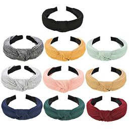 10 Pieces Wide Plain Headbands Knot Turban Headband Fashion Elastic Hairband Hair Accessories for... | Amazon (US)