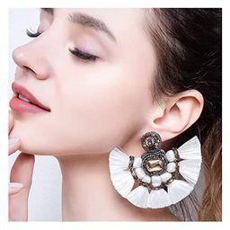 Fan Tassel Earrings For Women Fashion Bohemian Large Beaded Fanned Tier Earrings Big Layered Hang... | Amazon (US)