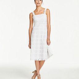 Lace Strap Eyelet Flare Dress   Ann Taylor (US)