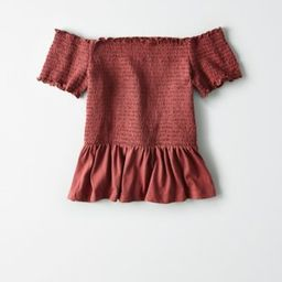 AE Off-The-Shoulder Smocked Peplum T-shirt | American Eagle Outfitters (US & CA)