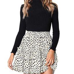 Salamola Women's Leopard Asymmetrical Ruffles High Waist Printed Cute Casual Mini Skirt | Amazon (US)